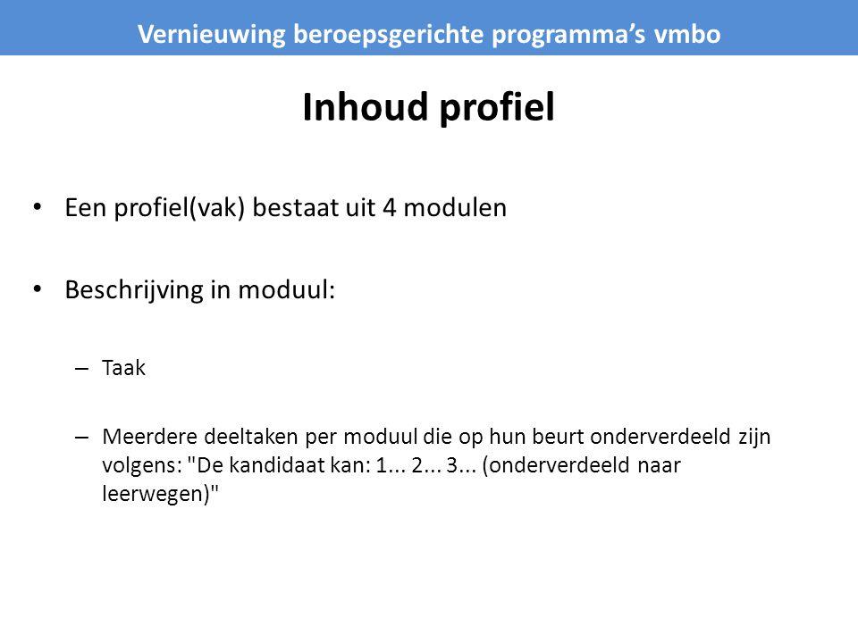 Inhoud profiel Een profiel(vak) bestaat uit 4 modulen Beschrijving in moduul: – Taak – Meerdere deeltaken per moduul die op hun beurt onderverdeeld zi