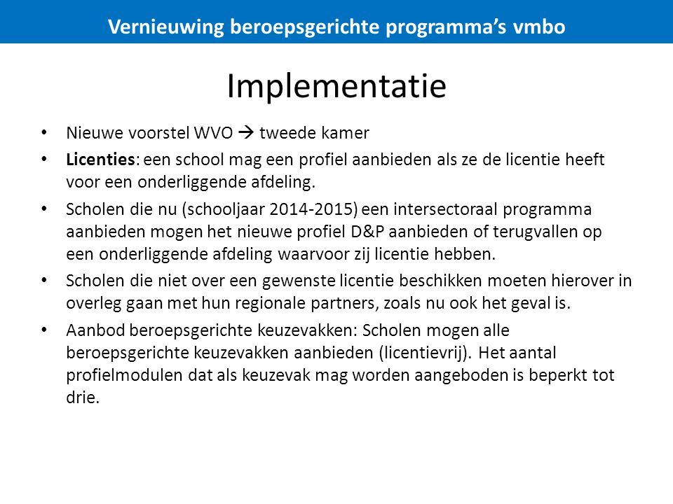 Implementatie Nieuwe voorstel WVO  tweede kamer Licenties: een school mag een profiel aanbieden als ze de licentie heeft voor een onderliggende afdel