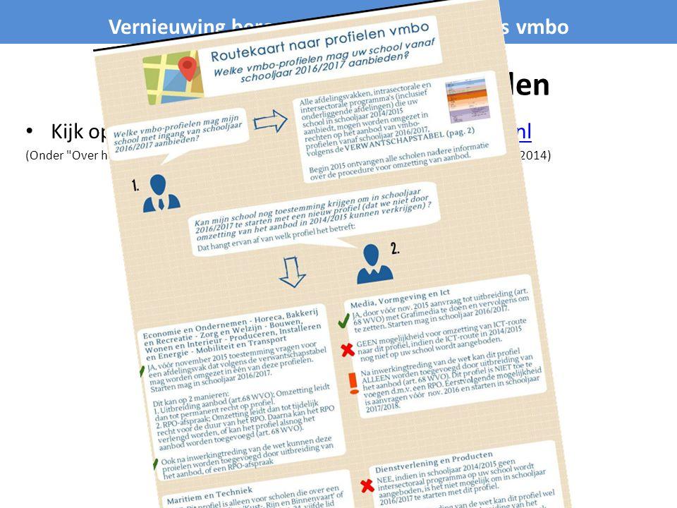 Wat mag de school aanbieden Kijk op de project website www.vernieuwingvmbo.nlwww.vernieuwingvmbo.nl (Onder