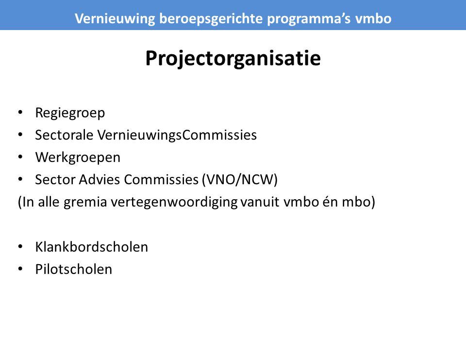 Projectorganisatie Regiegroep Sectorale VernieuwingsCommissies Werkgroepen Sector Advies Commissies (VNO/NCW) (In alle gremia vertegenwoordiging vanui