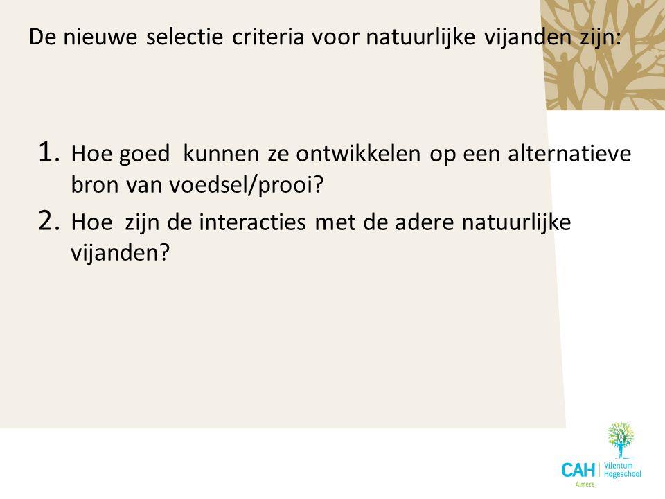 De nieuwe selectie criteria voor natuurlijke vijanden zijn: 1. Hoe goed kunnen ze ontwikkelen op een alternatieve bron van voedsel/prooi? 2. Hoe zijn