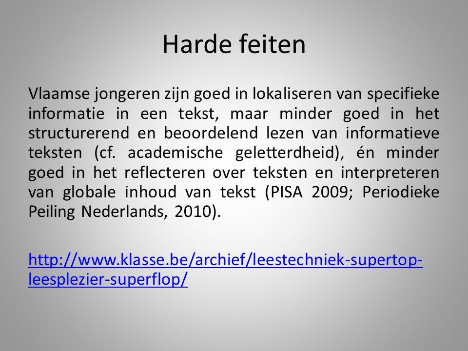 Harde feiten Vlaamse jongeren zijn goed in lokaliseren van specifieke informatie in een tekst, maar minder goed in het structurerend en beoordelend lezen van informatieve teksten (cf.