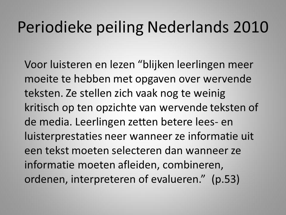 Periodieke peiling Nederlands 2010 Voor luisteren en lezen blijken leerlingen meer moeite te hebben met opgaven over wervende teksten.