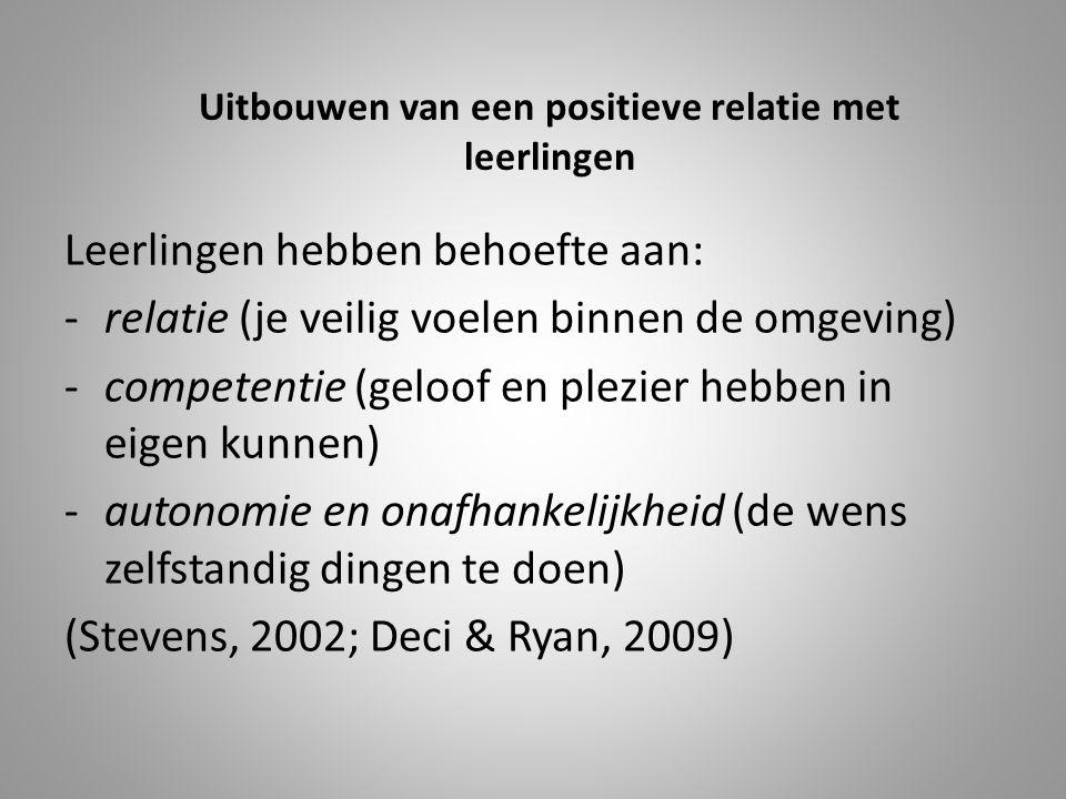Uitbouwen van een positieve relatie met leerlingen Leerlingen hebben behoefte aan: -relatie (je veilig voelen binnen de omgeving) -competentie (geloof en plezier hebben in eigen kunnen) -autonomie en onafhankelijkheid (de wens zelfstandig dingen te doen) (Stevens, 2002; Deci & Ryan, 2009)