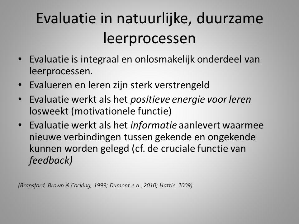 Evaluatie in natuurlijke, duurzame leerprocessen Evaluatie is integraal en onlosmakelijk onderdeel van leerprocessen.