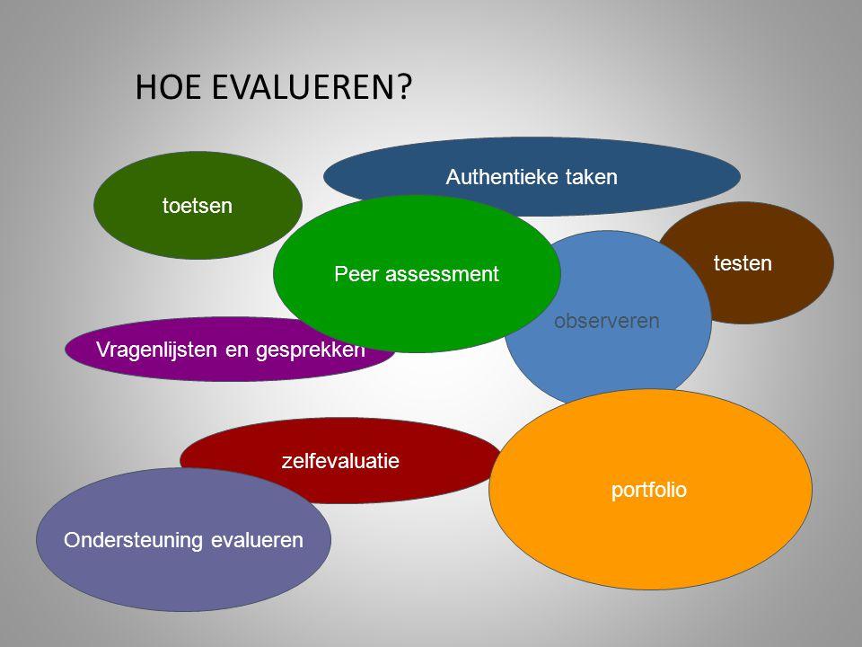 testen toetsen zelfevaluatie observeren Vragenlijsten en gesprekken Authentieke taken portfolio Ondersteuning evalueren Peer assessment HOE EVALUEREN?