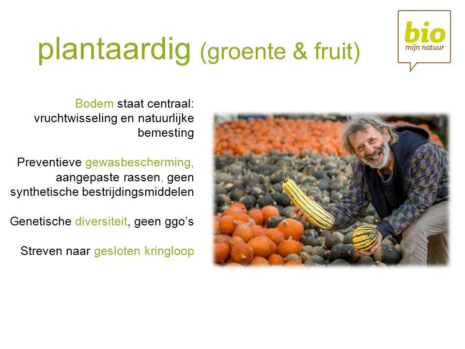 plantaardig (groente & fruit) Bodem staat centraal: vruchtwisseling en natuurlijke bemesting Preventieve gewasbescherming, aangepaste rassen, geen synthetische bestrijdingsmiddelen Genetische diversiteit, geen ggo's Streven naar gesloten kringloop
