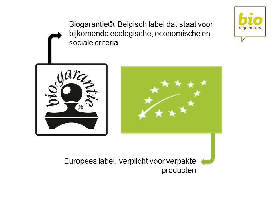 Biogarantie®: Belgisch label dat staat voor bijkomende ecologische, economische en sociale criteria Europees label, verplicht voor verpakte producten