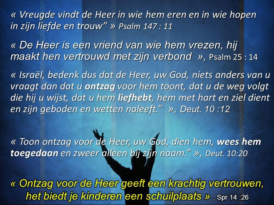 """« Vreugde vindt de Heer in wie hem eren en in wie hopen in zijn liefde en trouw"""" » Psalm 147 : 11 « De Heer is een vriend van wie hem vrezen, hij maak"""