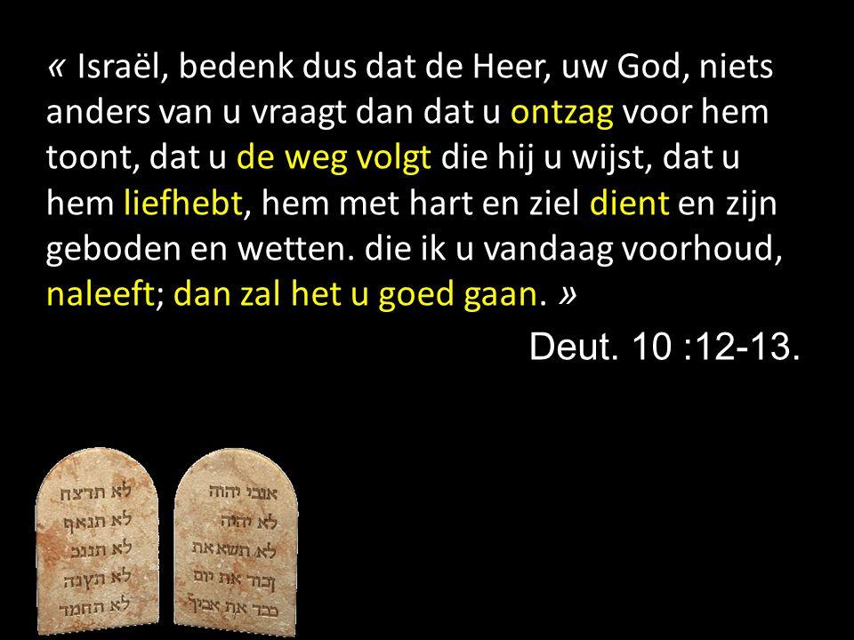 « Israël, bedenk dus dat de Heer, uw God, niets anders van u vraagt dan dat u ontzag voor hem toont, dat u de weg volgt die hij u wijst, dat u hem lie