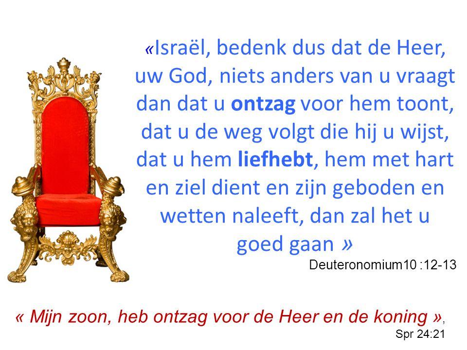 « Mijn zoon, heb ontzag voor de Heer en de koning », Spr 24:21 « Israël, bedenk dus dat de Heer, uw God, niets anders van u vraagt dan dat u ontzag vo
