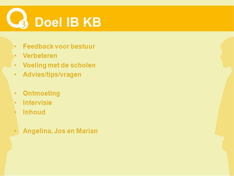 Doel IB KB Feedback voor bestuur Verbeteren Voeling met de scholen Advies/tips/vragen Ontmoeting Intervisie Inhoud Angelina, Jos en Marian