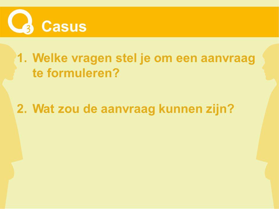Casus 1.Welke vragen stel je om een aanvraag te formuleren 2.Wat zou de aanvraag kunnen zijn