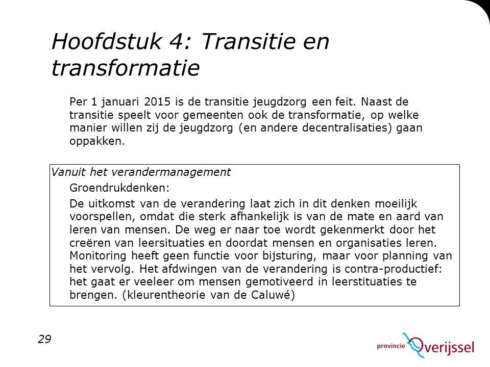 Hoofdstuk 4: Transitie en transformatie Per 1 januari 2015 is de transitie jeugdzorg een feit.