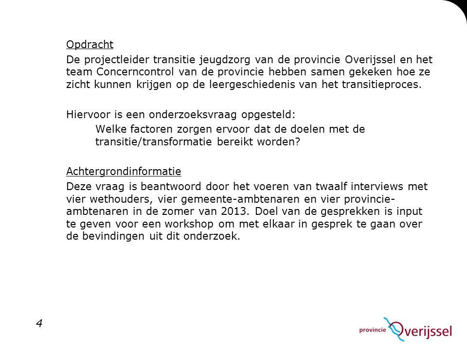 Opdracht De projectleider transitie jeugdzorg van de provincie Overijssel en het team Concerncontrol van de provincie hebben samen gekeken hoe ze zicht kunnen krijgen op de leergeschiedenis van het transitieproces.