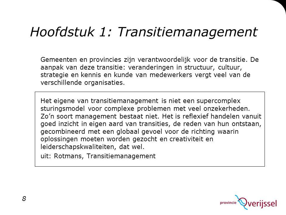 Hoofdstuk 1: Transitiemanagement Gemeenten en provincies zijn verantwoordelijk voor de transitie.