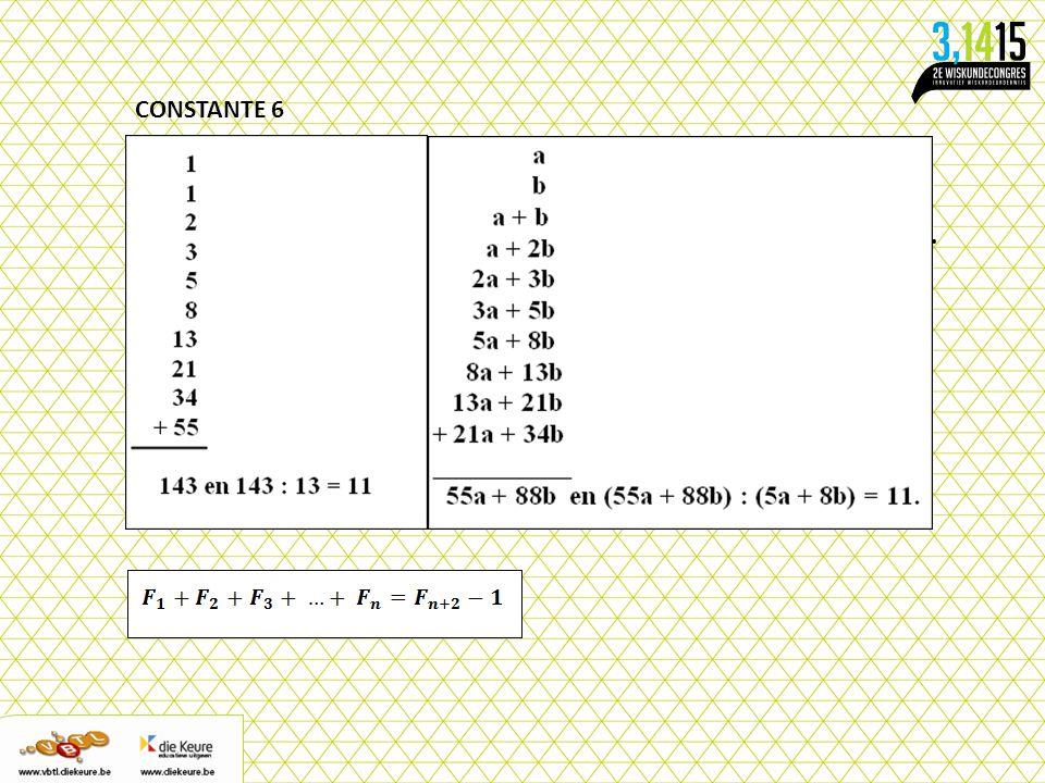 CONSTANTE 6 Schrijf onder elkaar twee willekeurige strikt positieve gehele getallen op. Schrijf daaronder het derde getal dat de som is van de eerste