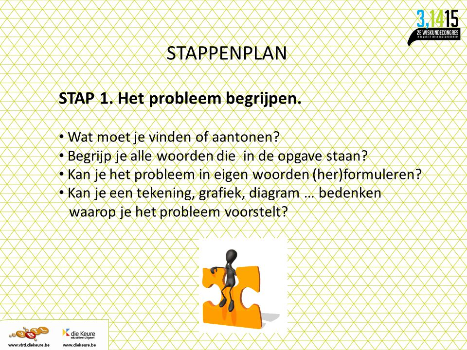 STAPPENPLAN STAP 1. Het probleem begrijpen. Wat moet je vinden of aantonen? Begrijp je alle woorden die in de opgave staan? Kan je het probleem in eig
