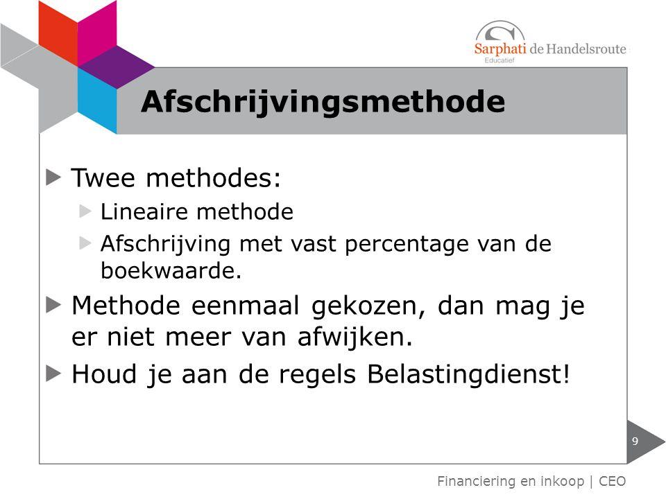 Twee methodes: Lineaire methode Afschrijving met vast percentage van de boekwaarde.
