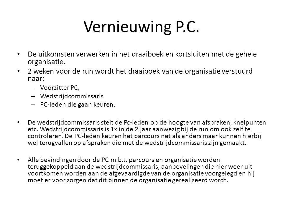 Vernieuwing P.C. De uitkomsten verwerken in het draaiboek en kortsluiten met de gehele organisatie. 2 weken voor de run wordt het draaiboek van de org