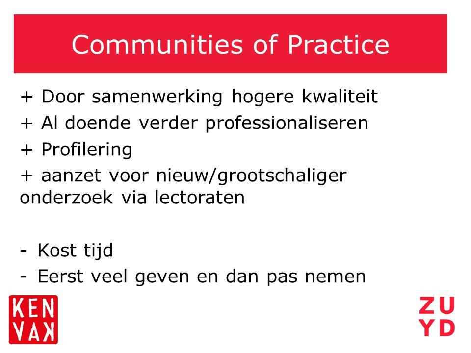 Communities of Practice + Door samenwerking hogere kwaliteit + Al doende verder professionaliseren + Profilering + aanzet voor nieuw/grootschaliger on