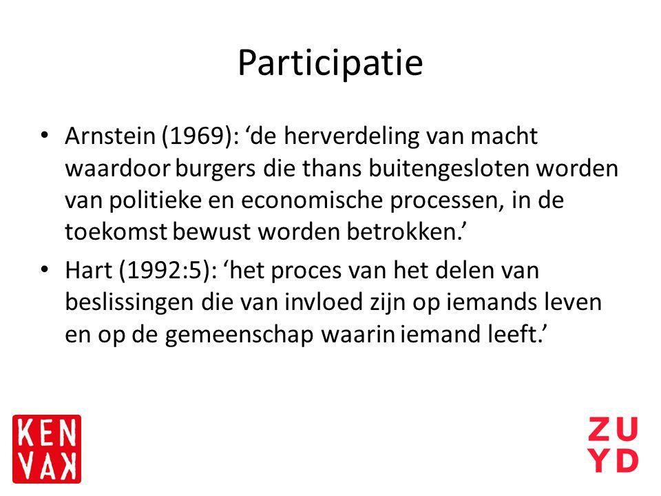 Participatie Arnstein (1969): 'de herverdeling van macht waardoor burgers die thans buitengesloten worden van politieke en economische processen, in d