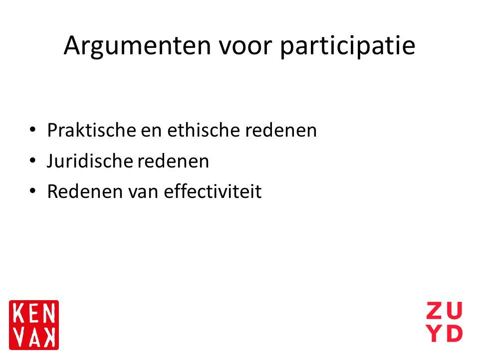 Argumenten voor participatie Praktische en ethische redenen Juridische redenen Redenen van effectiviteit
