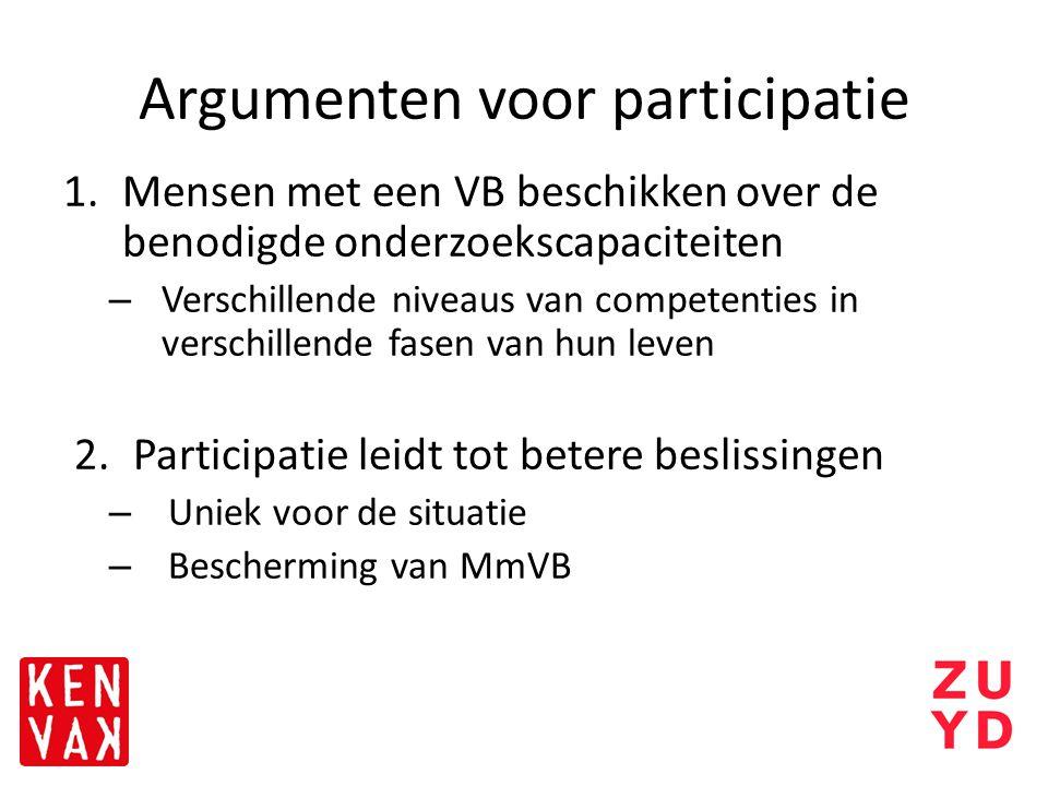 Argumenten voor participatie 1.Mensen met een VB beschikken over de benodigde onderzoekscapaciteiten – Verschillende niveaus van competenties in versc