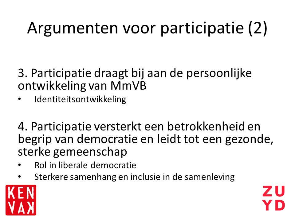 Argumenten voor participatie (2) 3. Participatie draagt bij aan de persoonlijke ontwikkeling van MmVB Identiteitsontwikkeling 4. Participatie versterk