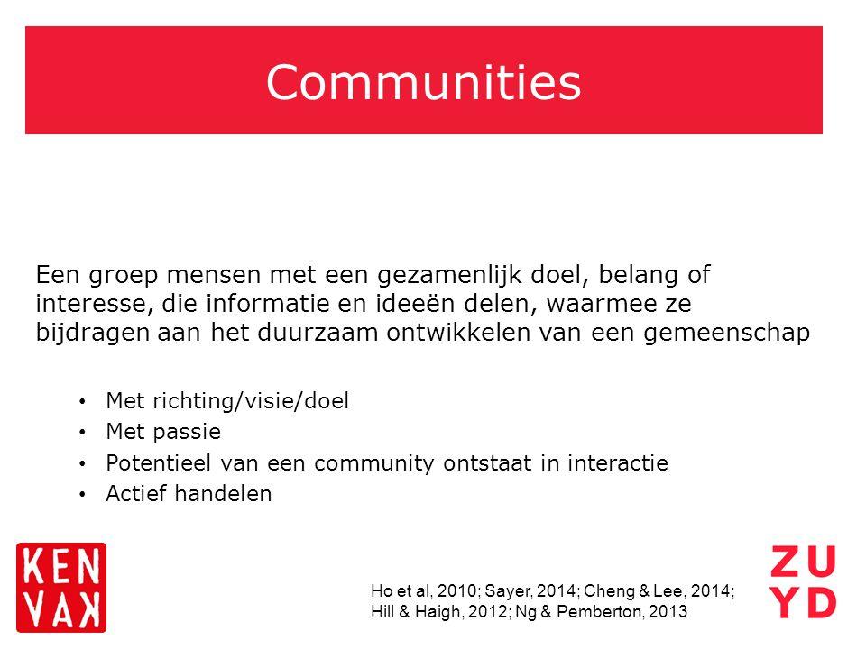 Communities Een groep mensen met een gezamenlijk doel, belang of interesse, die informatie en ideeën delen, waarmee ze bijdragen aan het duurzaam ontw