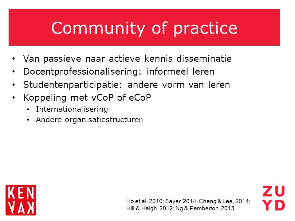 Community of practice Van passieve naar actieve kennis disseminatie Docentprofessionalisering: informeel leren Studentenparticipatie: andere vorm van