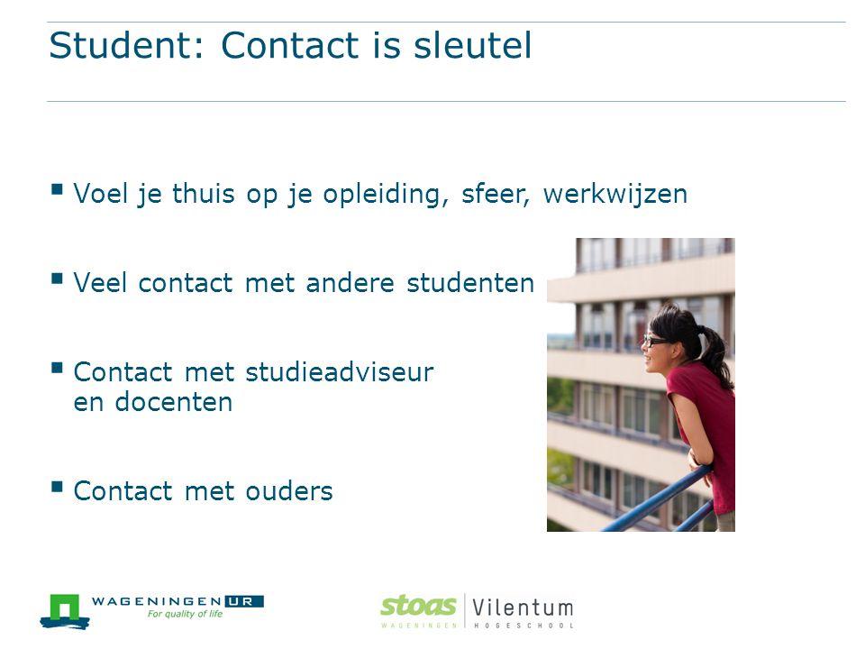 Student: Contact is sleutel  Voel je thuis op je opleiding, sfeer, werkwijzen  Veel contact met andere studenten  Contact met studieadviseur en doc