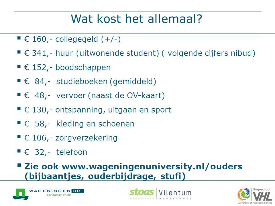Wat kost het allemaal?  € 160,- collegegeld (+/-)  € 341,- huur (uitwonende student) ( volgende cijfers nibud)  € 152,- boodschappen  € 84,- studi