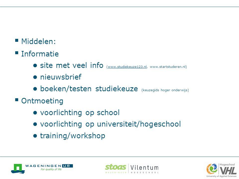  Middelen:  Informatie ● site met veel info (www.studiekeuze123.nl, www.startstuderen.nl)www.studiekeuze123.nl ● nieuwsbrief ● boeken/testen studiek