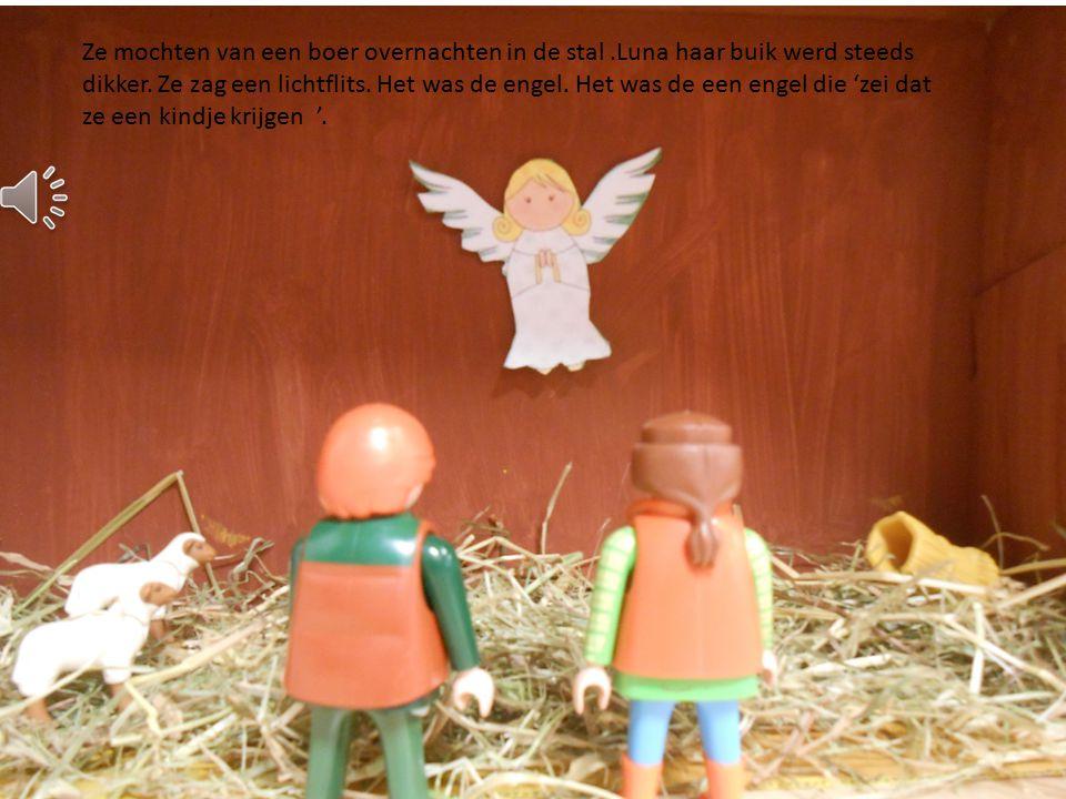 Ze gingen samen naar huis. Een week later werd ze zwanger en ze gingen weer op reis. Ze kwamen bij een stal in Bethlehem.