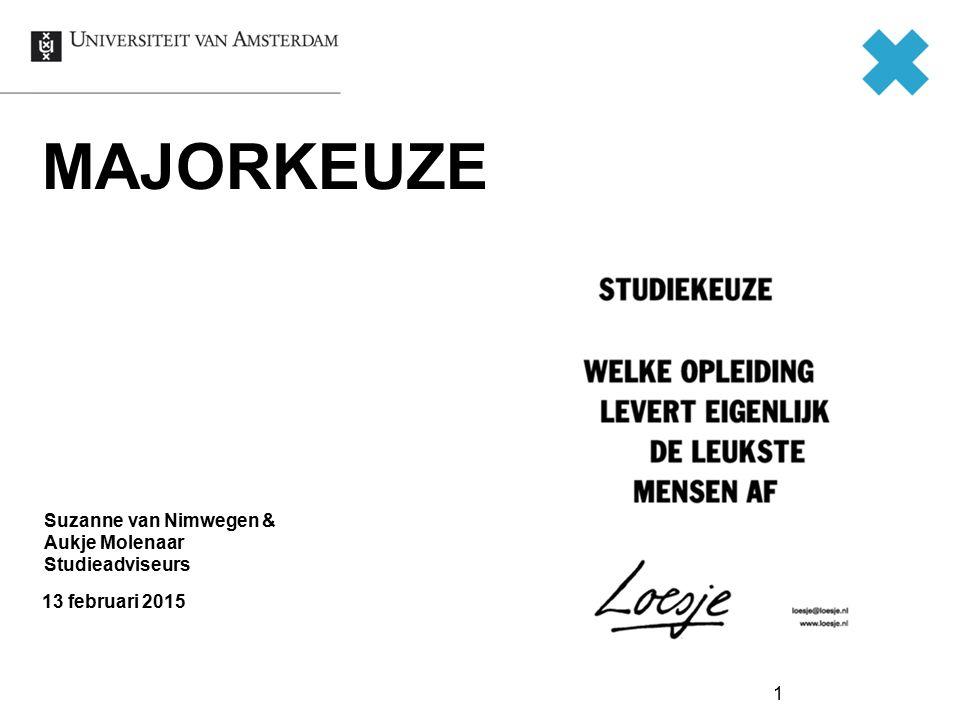 1 MAJORKEUZE 13 februari 2015 Suzanne van Nimwegen & Aukje Molenaar Studieadviseurs