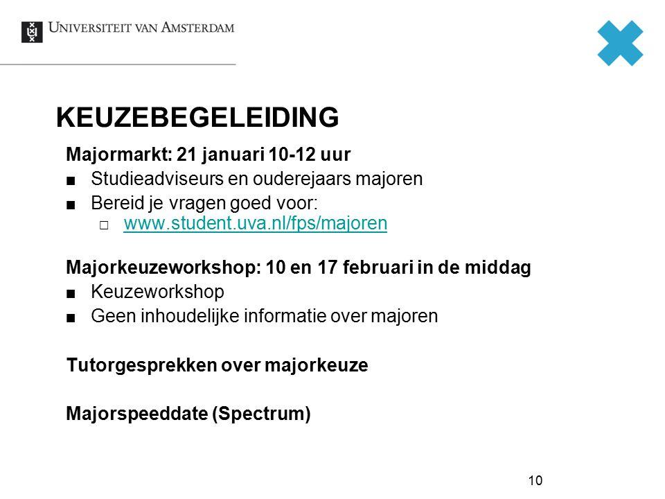 10 KEUZEBEGELEIDING Majormarkt: 21 januari 10-12 uur Studieadviseurs en ouderejaars majoren Bereid je vragen goed voor:  www.student.uva.nl/fps/major