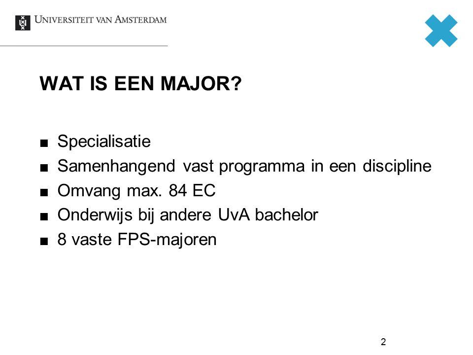 WAT IS EEN MAJOR? Specialisatie Samenhangend vast programma in een discipline Omvang max. 84 EC Onderwijs bij andere UvA bachelor 8 vaste FPS-majoren