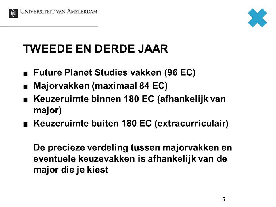 5 TWEEDE EN DERDE JAAR Future Planet Studies vakken (96 EC) Majorvakken (maximaal 84 EC) Keuzeruimte binnen 180 EC (afhankelijk van major) Keuzeruimte