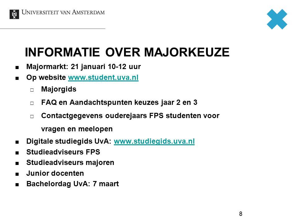 8 INFORMATIE OVER MAJORKEUZE Majormarkt: 21 januari 10-12 uur Op website www.student.uva.nlwww.student.uva.nl  Majorgids  FAQ en Aandachtspunten keu