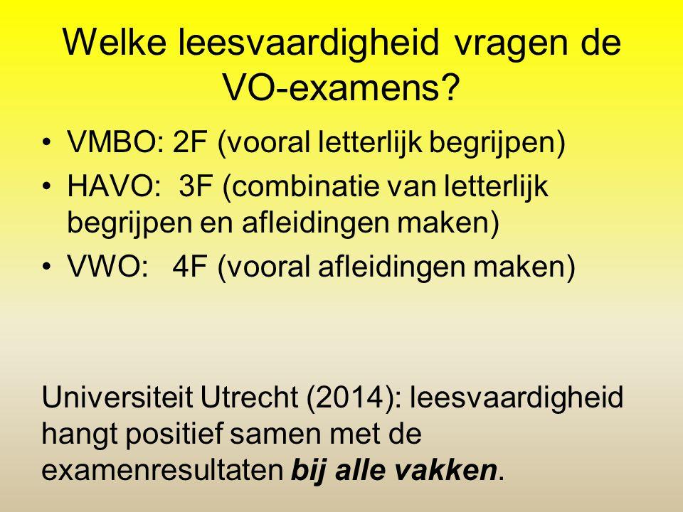 Welke leesvaardigheid vragen de VO-examens? VMBO: 2F (vooral letterlijk begrijpen) HAVO: 3F (combinatie van letterlijk begrijpen en afleidingen maken)