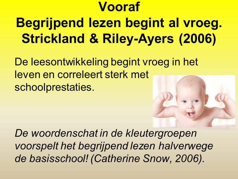 Vooraf Begrijpend lezen begint al vroeg. Strickland & Riley-Ayers (2006) De leesontwikkeling begint vroeg in het leven en correleert sterk met schoolp