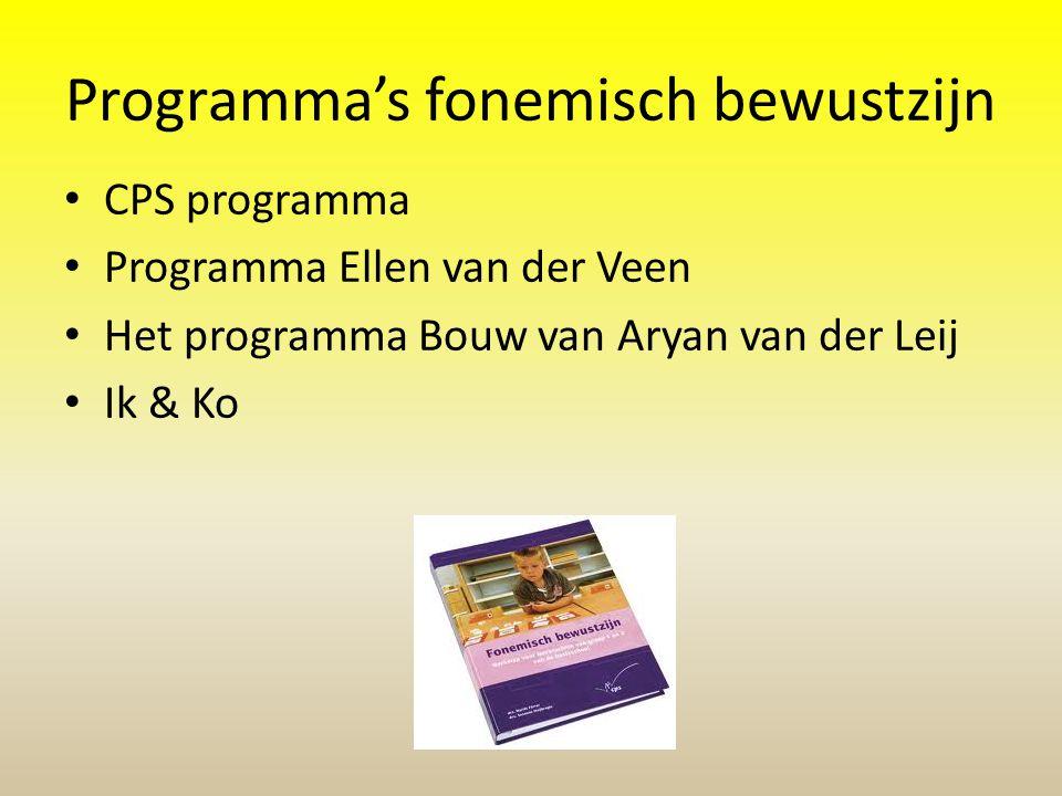 Programma's fonemisch bewustzijn CPS programma Programma Ellen van der Veen Het programma Bouw van Aryan van der Leij Ik & Ko