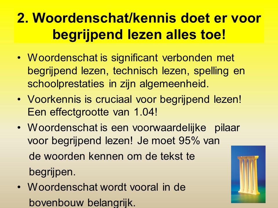 2. Woordenschat/kennis doet er voor begrijpend lezen alles toe! Woordenschat is significant verbonden met begrijpend lezen, technisch lezen, spelling