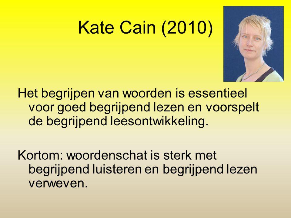 Kate Cain (2010) Het begrijpen van woorden is essentieel voor goed begrijpend lezen en voorspelt de begrijpend leesontwikkeling. Kortom: woordenschat