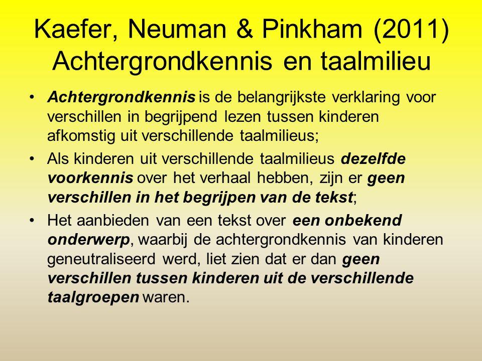Kaefer, Neuman & Pinkham (2011) Achtergrondkennis en taalmilieu Achtergrondkennis is de belangrijkste verklaring voor verschillen in begrijpend lezen