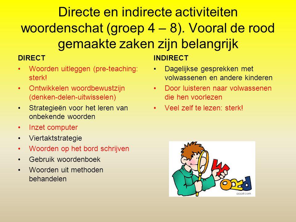 Directe en indirecte activiteiten woordenschat (groep 4 – 8). Vooral de rood gemaakte zaken zijn belangrijk DIRECT Woorden uitleggen (pre-teaching: st
