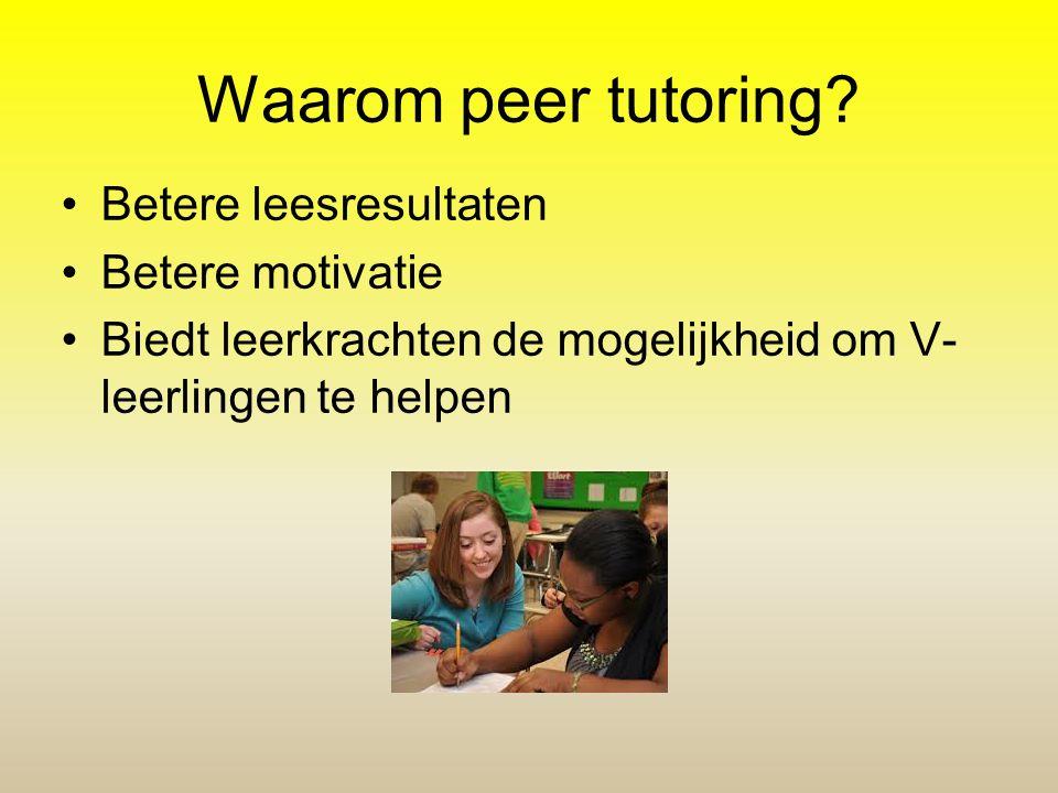 Waarom peer tutoring? Betere leesresultaten Betere motivatie Biedt leerkrachten de mogelijkheid om V- leerlingen te helpen
