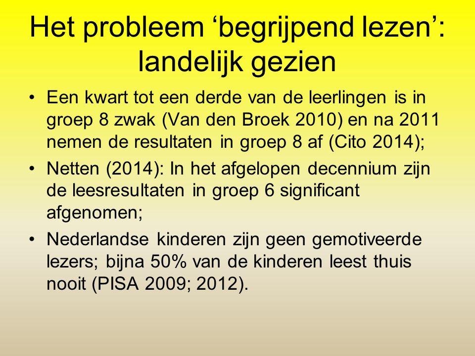 Het probleem 'begrijpend lezen': landelijk gezien Een kwart tot een derde van de leerlingen is in groep 8 zwak (Van den Broek 2010) en na 2011 nemen d