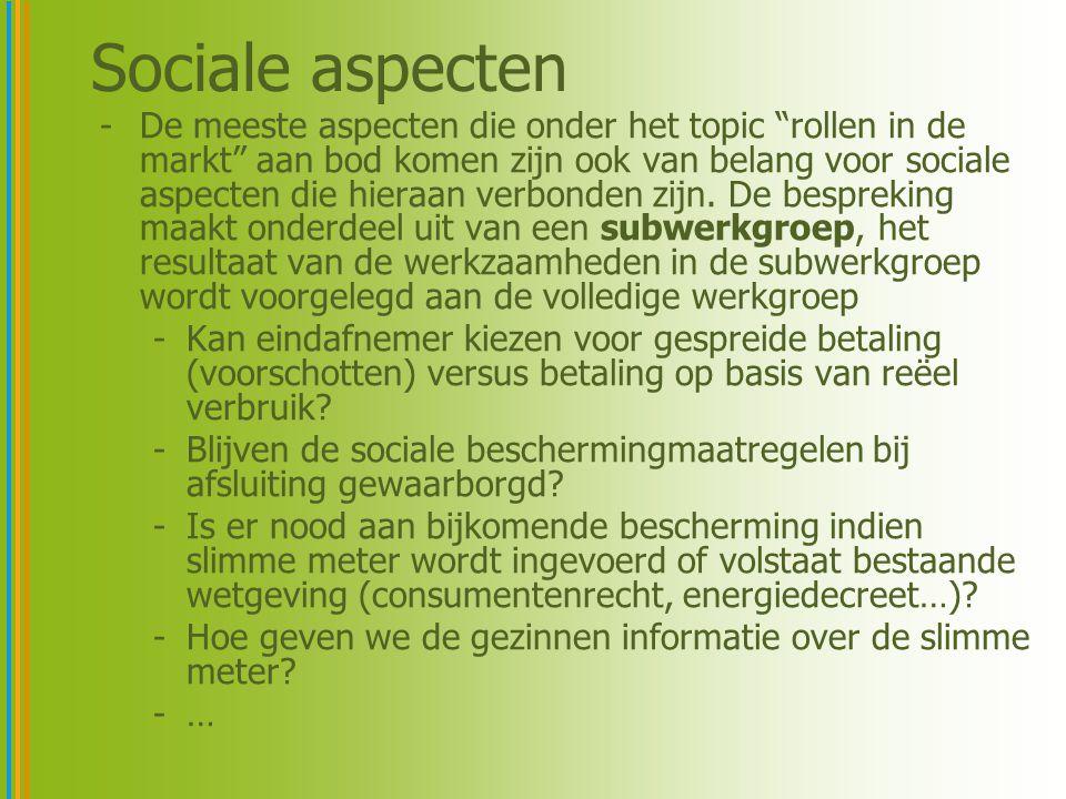 Sociale aspecten -De meeste aspecten die onder het topic rollen in de markt aan bod komen zijn ook van belang voor sociale aspecten die hieraan verbonden zijn.